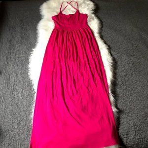 NWT Soprano Hot Pink Empire Waist Maxi Dress XS